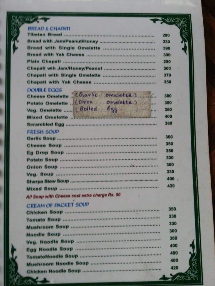 langtang food menu breakfast