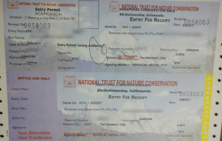 ACAP permit for Manaslu circuit trek issued by Magical Nepal