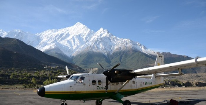 Tara Air landing in Jomsom Airport
